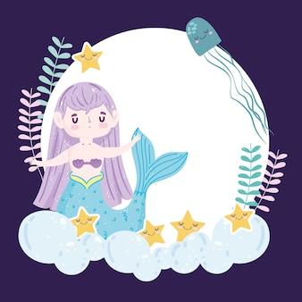 Sereia com lindas estrelas do mar e ilustração jellyfih