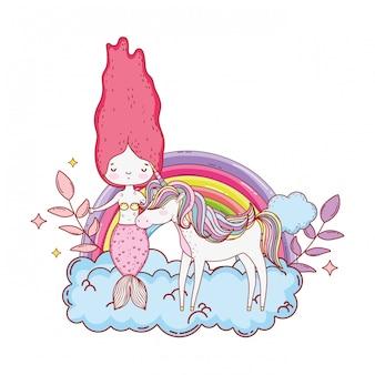 Sereia com unicórnio e arco-íris nas nuvens