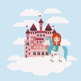 Sereia com unicórnio nas nuvens e castelo