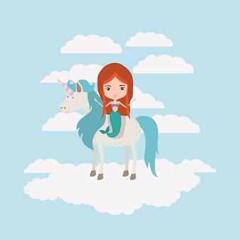 Sereia com unicórnio nas nuvens