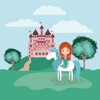 Sereia com unicórnio no acampamento e castelo