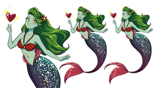 Sereia de anime bonito segurando coração mágico. cabelo verde, pele verde e rabo de peixe roxo brilhante.