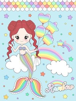 Sereia de arco-íris adorável segurando balões