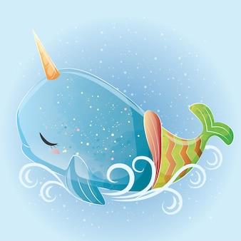 Sereia de baleia bebê unicórnio