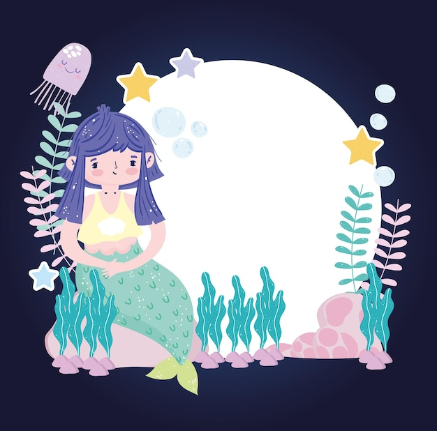Sereia de cabelo roxo sentada na pedra com ilustração de estrelas do mar e medusas