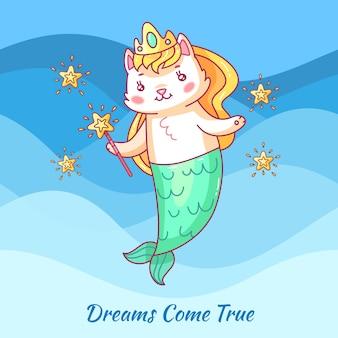 Sereia de gato bonito. gato de unicórnio dos desenhos animados. dewams se tornam realidade. cartaz de motivação de menina