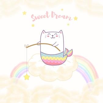Sereia de gato bonito sentado na nuvem segurando uma estrela com arco-íris