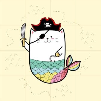 Sereia de gato em trajes de pirata para o dia de halloween