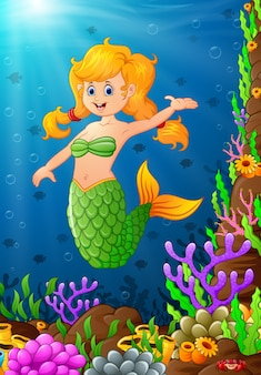 Sereia de ilustração sob o mar