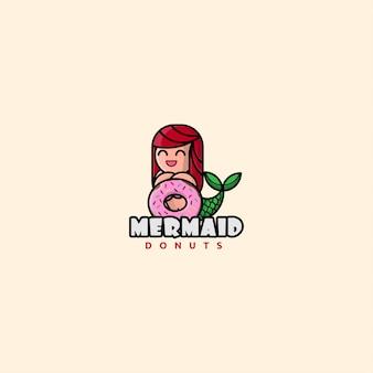 Sereia de logotipo ícone com donut