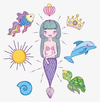 Sereia de mulher com animais marinhos tropicais