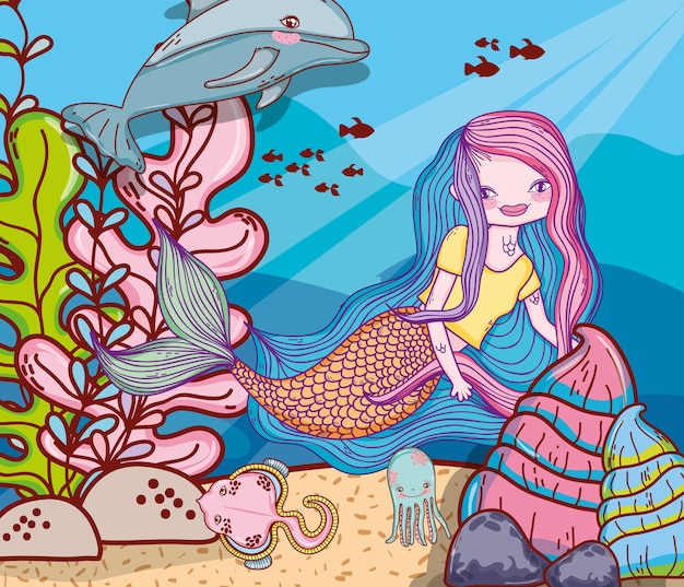 Sereia de mulher com golfinho e arraia no mar
