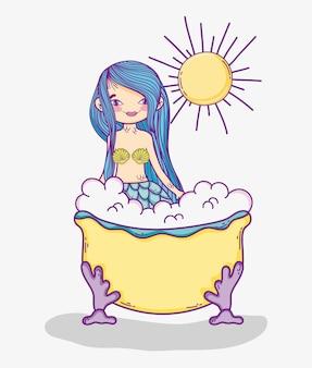 Sereia de mulher tomar um banho na banheira com sol