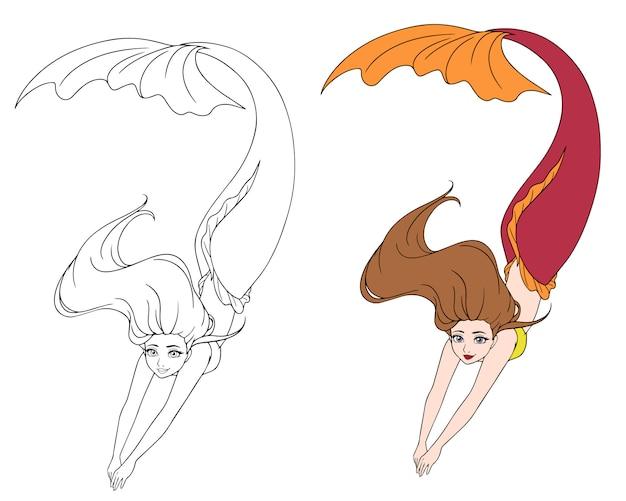 Sereia de natação bonito dos desenhos animados. cabelo castanho e rabo de peixe vermelho.