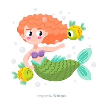 Sereia desenhada de mão com cabelo encaracolado, rodeado de peixe