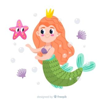 Sereia desenhada de mão com peixe estrela