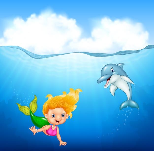 Sereia dos desenhos animados com golfinho
