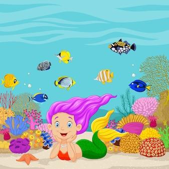 Sereia dos desenhos animados no fundo debaixo d'água
