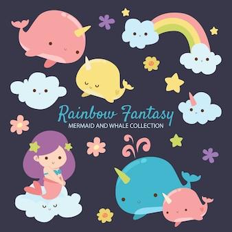 Sereia e baleia da fantasia do arco-íris
