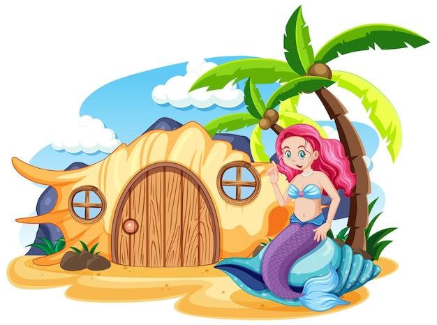 Sereia e casa de conchas na praia estilo cartoon no céu