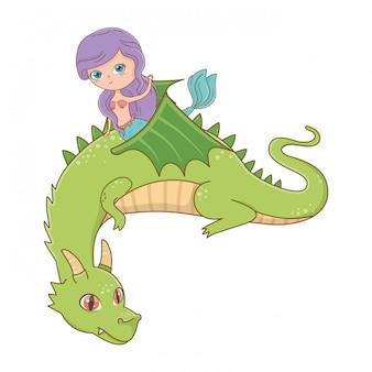 Sereia e dragão de ilustração em vetor design de conto de fadas
