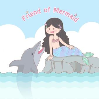 Sereia e golfinho