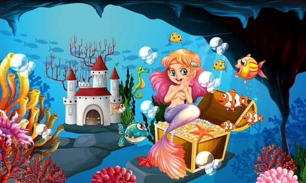 Sereia e moedas de ouro no fundo do mar