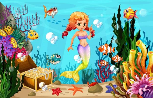 Sereia e muitos peixes no fundo do oceano