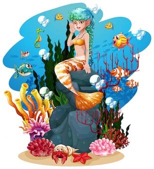 Sereia e peixe no fundo do mar