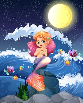 Sereia e peixe no mar