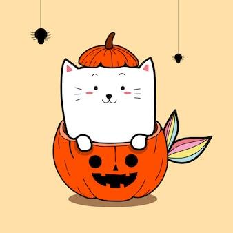 Sereia gato bonito em trajes de abóbora para o dia de halloween