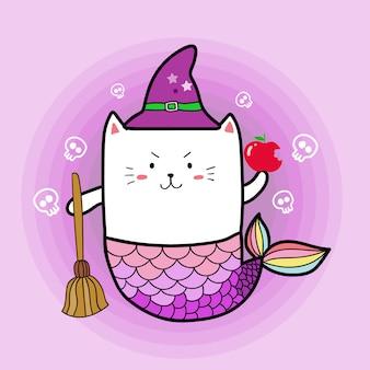 Sereia gato bonito em trajes de bruxa dia de halloween