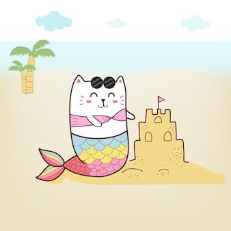Sereia gato bonito na praia com cor pastel