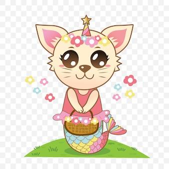 Sereia gato bonito segurando uma cesta de flores