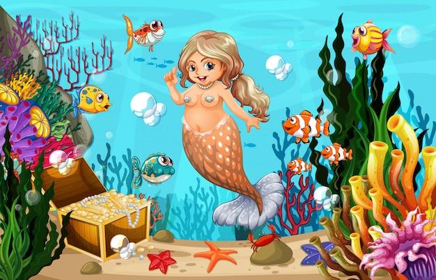 Sereia gorda e peixe no mar