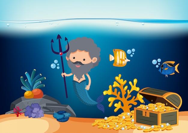 Sereia masculina com tridente e ouro no mar