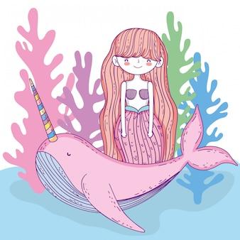Sereia mulher com baleia unicórnio e algas