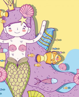 Sereia mulher com conchas e peixes debaixo d'água