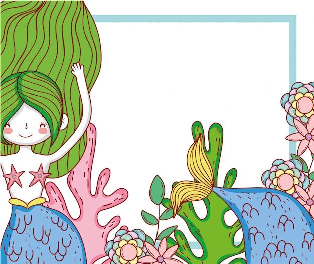 Sereia mulher com flores e plantas de algas