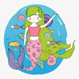 Sereia mulher com peixes e conchas debaixo d'água