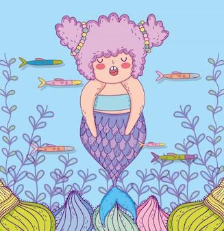 Sereia mulher com peixes e galhos de folhas
