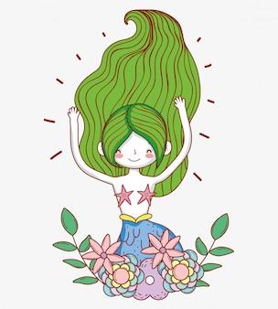 Sereia mulher com plantas e folhas de flores