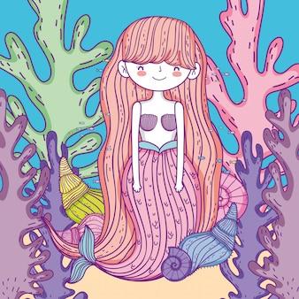 Sereia mulher com plnts de algas e conchas dentro de jar
