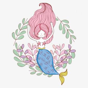 Sereia mulher com ramos de folhas de plantas