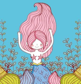 Sereia mulher com ramos folhas de plantas e conchas