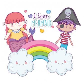 Sereia mulher e menino pirata no arco-íris com nuvens