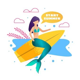 Sereia na bandeira de publicidade de metáfora de prancha de surf