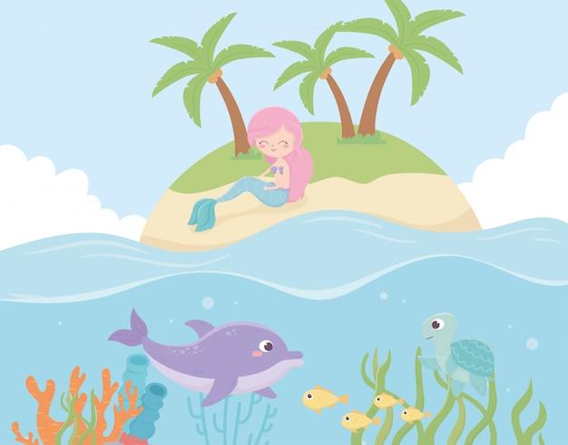 Sereia na ilha golfinho peixes recife dos desenhos animados sob a ilustração vetorial de mar