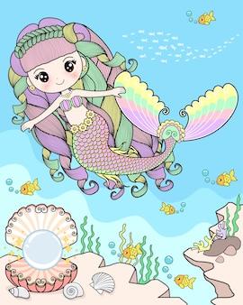Sereia nadando no fundo do mar