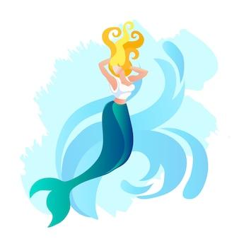 Sereia ou sirene mulher bonita com rabo de peixe